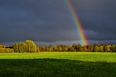 Rainbow. When storm and sunlight meet Royalty Free Stock Photos