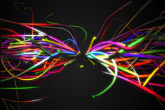 Rainbow straight Butterfly Shape Line Glow Dark Background Royalty Free Stock Photo