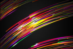Rainbow straight Diagonal Line Glow split three section Dark Background Stock Image