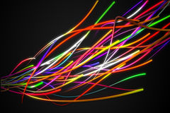 Rainbow Strands Line Glow Dark Background Royalty Free Stock Photography