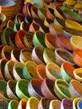 Rainbow straw bowls. Rainbow bowls at Arabian bazaar Royalty Free Stock Photo