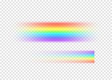 Rainbow string with limpid section edge  on transparent background. Realistic rain arch in line shape. Vector illustration Stock Photo