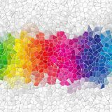 Rainbow strip marble irregular plastic stony mosaic pattern texture background with gray grout Stock Photos