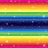 Rainbow striped backdrop and snow. Rainbow horizontal striped snow background. Marry Christmas and Happy New Year multicolored backdrop Royalty Free Stock Image