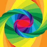 Rainbow Striped Vortex Converging to the Center. Optical Illusion of Depth and Volume Stock Image