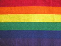 Rainbow Stripes. Coloured striped toweling cloth, ideal background, pattern or texture Stock Photo