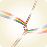 Rainbow stripes. Two glossy rainbow stripes dancing in space stock illustration