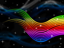 Rainbow Stripes Background Shows Multi-Colored Lines And Stars Stock Photography
