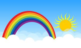 Rainbow with sum and clouds. Bright sky.Rainbow with sum and clouds Royalty Free Stock Images