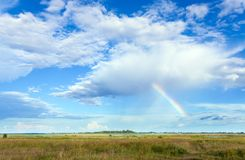 Rainbow and summer meadow. Stock Images