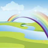 Rainbow in a summer scene Royalty Free Stock Photography