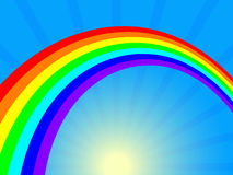 Rainbow and sun. Vector illustration Stock Photos