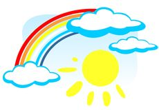 Rainbow and sun Royalty Free Stock Image