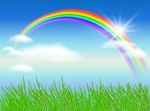 Rainbow and sun Royalty Free Stock Images