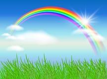 Rainbow and sun. Rainbow, sun and blue sky Royalty Free Stock Images