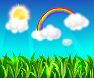 Rainbow, sun and blue sky Stock Photos