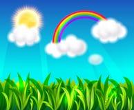 Rainbow, sun and blue sky. Green field with sun and rainbow. Vector Background Stock Photos
