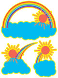 Rainbow sun cloud stock illustration