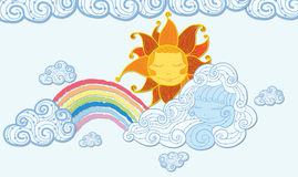 Rainbow and sun , clouds  Stock Photography