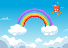 Rainbow and sun in clouds Royalty Free Stock Photography