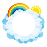 Rainbow, sun and clouds. Background with space for text Stock Image