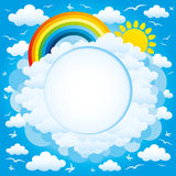 Rainbow, sun and clouds. Background with space for text Royalty Free Stock Photos