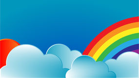 Rainbow with sun and clouds. Cute, eps10 Royalty Free Stock Photo