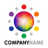 Rainbow sun icon and logo design Royalty Free Stock Images
