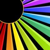 Rainbow Sun Night Party Invitation Card. Night sun casting a rainbow. Space to write message or invitation inside the sun Stock Photos