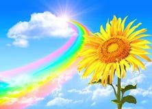 Rainbow and sunflower royalty free illustration