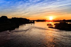 Rainbow Sunset Loire River Royalty Free Stock Images
