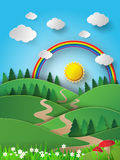 Rainbow and sunshine over mountian Royalty Free Stock Photography