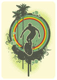Rainbow surf. Retro surf insignia with rainbow and palm-trees Stock Photography