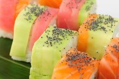 Rainbow sushi macro Stock Image