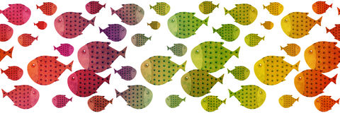 Rainbow swimming fish border illustration. Textured paper effect on white background Royalty Free Stock Image