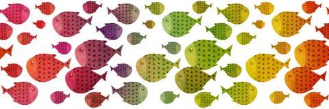 Rainbow swimming fish border illustration Royalty Free Stock Image