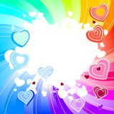Rainbow swirl background with hearts. Contour many-coloured hearts on rainbow swirl background Stock Images