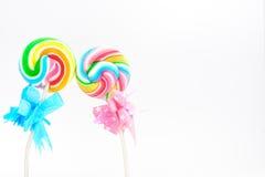 Rainbow swirl lollipops Stock Photos