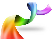 Rainbow Swirl Ribbon on White Royalty Free Stock Photography