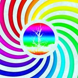 Rainbow swirl tree symbol generated texture Royalty Free Stock Photography