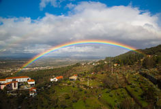 Rainbow. Taken in Serra da Estrela region Seia from the Museu do Pão balcony. The rainbow last for more than 15 minutes Royalty Free Stock Image