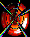 Rainbow Target. Light lines into a point Stock Image
