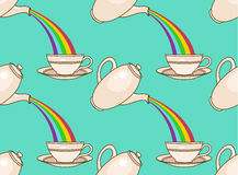 Rainbow tea pattern Stock Image