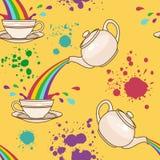 Rainbow tea splash pattern Royalty Free Stock Photo