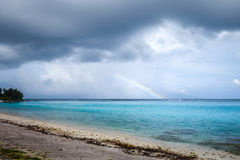 Rainbow on Temae Beach lagoon in Moorea island Stock Photography