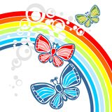 Rainbow and three butterflies Royalty Free Stock Photos