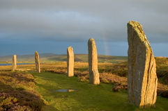 Rainbow throught Ring of Brodgar Royalty Free Stock Photos