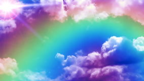 Rainbow on time lapse clouds with sun in the corner, stock footage. Video vector illustration