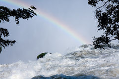 Rainbow at the top of Victoria Falls stock photos