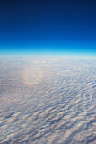 Rainbow from the top, view from the airplane Royalty Free Stock Photo